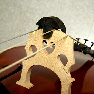 Mute (music) - A modern mute on the bridge of a cello