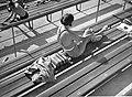 Nő ül a padon, 1940-ben a Hajós Alfréd Nemzeti Sportuszodánál. Fortepan 3504.jpg