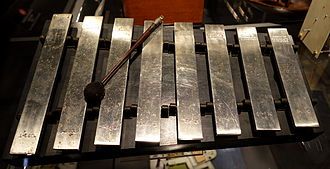 NBC chimes - Although NBC normally used four-bar Deagan Company chimes, WMAQ in Chicago used a xylophone to play the notes (c. 1930)