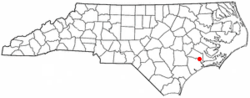 Location of Maysville, North Carolina