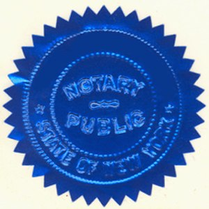 Notary public - An embossed foil Notary Seal from the State of New York