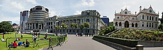 New Zealand Parliament Buildings - Left to right: Bowen House, The Beehive, Parliament House and the Parliamentary Library