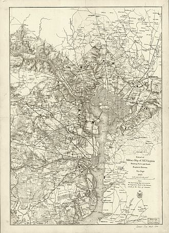 Fort Stevens (Washington, D.C.) - Historical map of Washington DC area, showing forts and roads in N.E. Virginia, Drafted by U.S. War Department, 1865