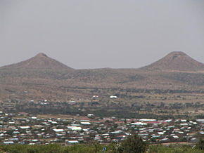 Hargeisa and much of the de-facto republic of Somaliland is desert or hilly terrain. Here the Naasa Hablood hills are shown.