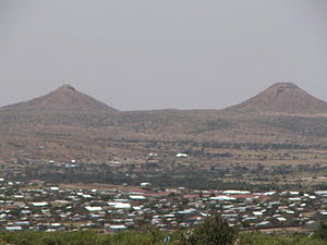 Geography of Somalia - Hargeisa and much of northwestern Somalia is desert or hilly terrain. Here, the thelarchic-shaped Naasa Hablood hills are shown.