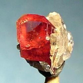 Kombat - Nambulite, a very rare gem, from Kombat Mine. The sample size is 0.7 x 0.6 x 0.4 cm.