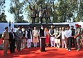 Narendra Modi at National Martyrs Memorial, at Hussainiwala, in Punjab. The Chief Minister of Punjab, Shri Parkash Singh Badal, the Union Minister for Food Processing Industries, Smt. Harsimrat Kaur Badal.jpg