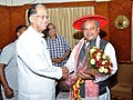Narendra Singh Tomar meeting the Chief Minister, Assam, Shri Tarun Gogoi, to discuss issues regarding development of Assam and other North-East areas in the steel & mines sector, in Guwahati on May 19, 2015.jpg