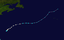 Track map of hurricane. The United States are seen on the western end of the map, while Bermuda is located closer to the center.