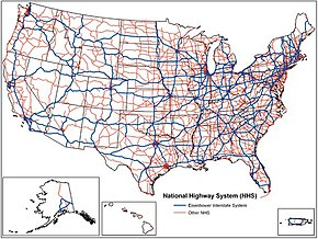 National Highway System United States Wikipedia - Map of highways in us