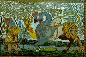 Navagunjara - Arjuna bows to Navagunjara, depicted here with the head of Jagannath, the Odishan form of Vishnu-Krishna.