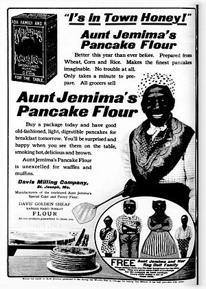 Aunt Jemima - Ad showing the Aunt Jemima character with apron and kerchief as described, 1909
