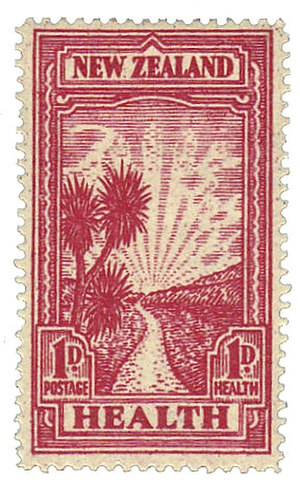 Health - Postage stamp, New Zealand, 1933. Public health has been promoted – and depicted – in a wide variety of ways.