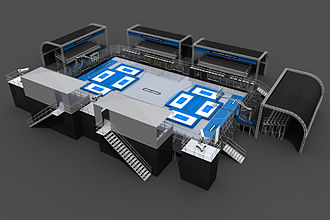 Slamball - 3D render of a SlamBall court.
