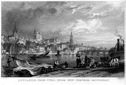 An engraving by William Miller of Newcastle in 1832 Newcastle-upon-Tyne from New Chatham engraving by William Miller after T Allom.jpg