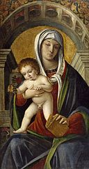 Nicolò Rondinello - Triptych with Madonna and Child Enthroned Between the Archangel Michael and Saint Peter - Walters 37517 - Center.jpg