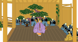 Noh stage. Center: shite; front right: waki; right: eight-member jiutai (chorus); rear center: four hayashi-kata (musicians); rear left: two kohken (stage hands).