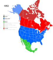 Map showing Non-Native American Nations Control over N America c. 1952