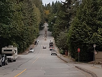 Collector road - Noons Creek Drive and Falcon Drive are typical collector roads in Port Moody, British Columbia, Canada.