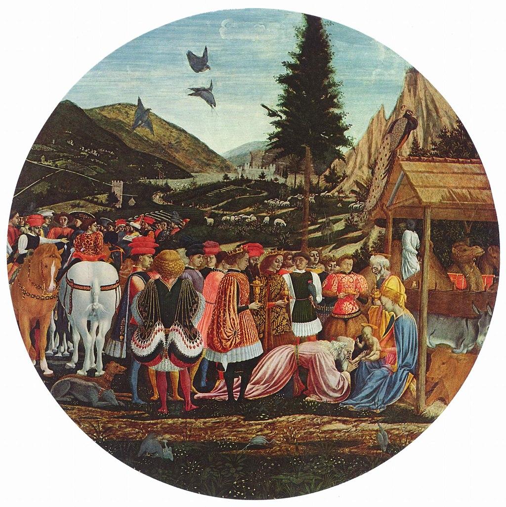 Domenico Veneziano  (1410–1461), Adorazione dei Magi, 1439-1441 circa, tempera su tavola, Gemäldegalerie, Berlin