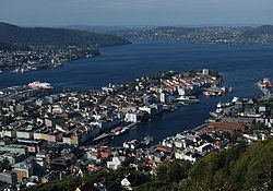 View of Nordnes (center) and Vågen from Fløyen