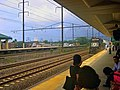Norfolk Southern freight train passing Rahway station, July 2004.jpg
