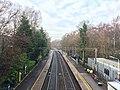 Northbound view from footbridge, Poynton railway station.jpg