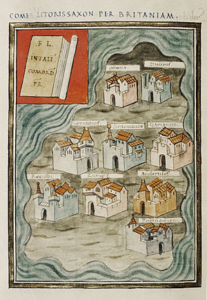 Saxon Shore - The nine British Saxon Shore forts in the Notitia Dignitatum.