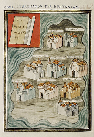 Saxon Shore - The nine British Saxon Shore forts in the Notitia Dignitatum. Bodleian Library, Oxford.