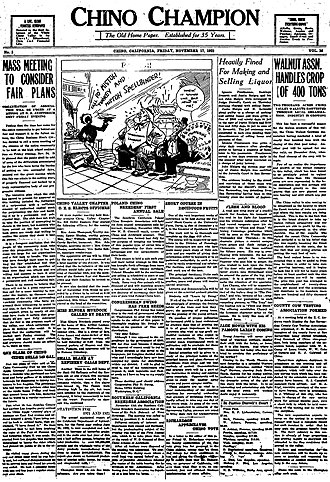Chino Champion - Front page of the Chino Champion, November 11, 1922, 35 years after its first issue