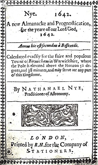 Science and invention in Birmingham - Frontispiece of Nye's New Almanacke and Prognostication for 1642