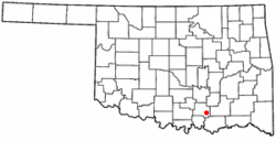 Location of Milburn, Oklahoma