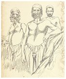 Sketch of three standing men, of different ages
