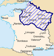 A map of France. Part of the country is shaded in purple to show the occupied areas after the Franco-Prussian war.