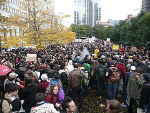 Section 2 of the Canadian Charter of Rights and Freedoms - Occupy Canada stages a peaceful assembly in Victoria Square in Montreal.