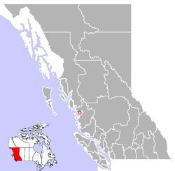 Location of Ocean Falls on the Central Coast