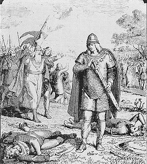Offa of Angel - Wermund runs to embrace his victorious son Offa. Illustration by the Danish Lorenz Frølich in a 19th-century book.