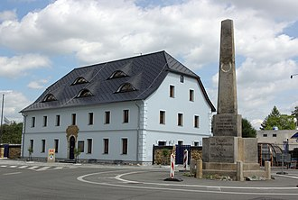 "Ohrazenice (Semily District) - Stone guidepost from 1813 and former inn ""U Pyrámu"" from 1819"