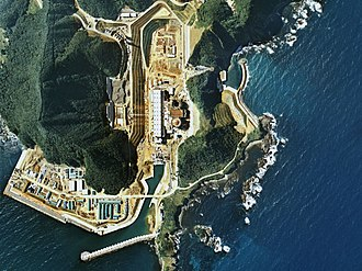 Ōi Nuclear Power Plant - Aerial view of the 1 and 2 units during construction