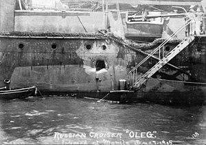 Bogatyr-class cruiser - Battle damage to cruiser Oleg inflicted at the Battle of Tsushima. Photo taken June 1905 at Manila Bay.
