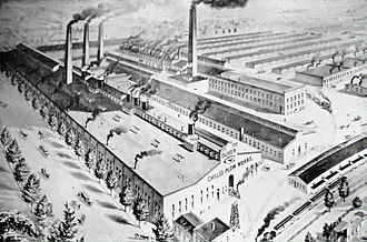 Oliver Farm Equipment Company - An artist's conception drawing of an aerial view of the Oliver Chilled Plow Works, South Bend, Indiana, c.1900.