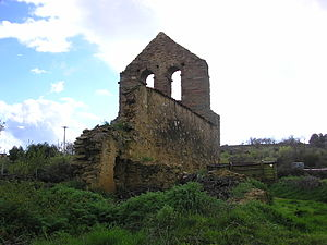Tábara - Ruined church with large bell-gable near Tábara
