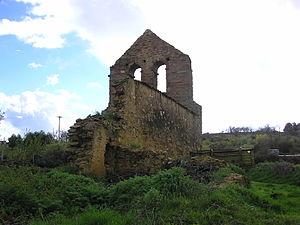 Ruined church with large bell-gable near Tábara