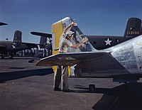 On North American's outdoor assembly line, a painter cleans the tail section of a P-51 fighter prior to spraying the olive-drab camouflage of the U.S. Army.jpg