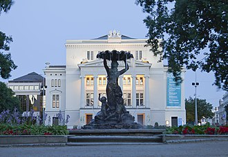 August Volz - The fountain in front of the Latvian National Opera. Volz designed both the fountain and the interiors of the opera house.
