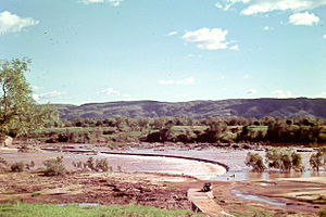 Ord River - crossing the Ord river at Kununarra c1960