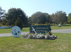 Orient Beach State Park; NY 25 Entrance Sign.JPG