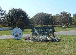 Eingang Zum Orient Beach State Park Von Der Route 25