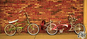 MTD Products - The green bicycle is a stock MTD The King, the red bicycle is a lowrider built using the frame. Muscle bicycles are often used for lowrider bicycles due to their style.