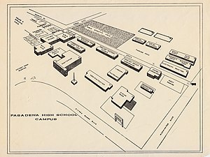 Pasadena High School (California) - Image: Original Map of Pasadena High School